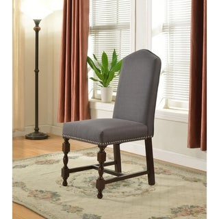 Best Master Furniture Grey Canvas Upholstered Side Chair (Set of 2)
