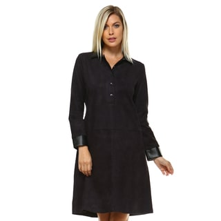 Alanis Tunic Dress with Faux-leather Collar