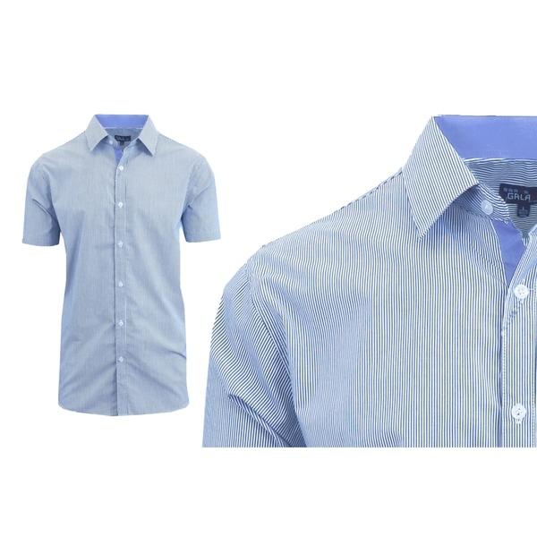 Galaxy by Harvic Mens Short Sleeve Micro-Pinstripe Button Down Dress Shirts