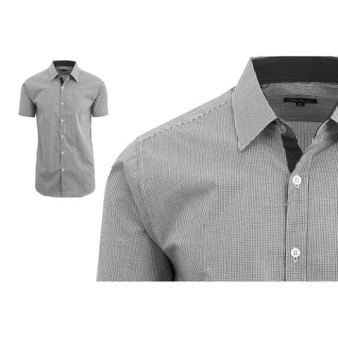Galaxy by Harvic Men's Short Sleeve Plaid Button Down Dress Shirts
