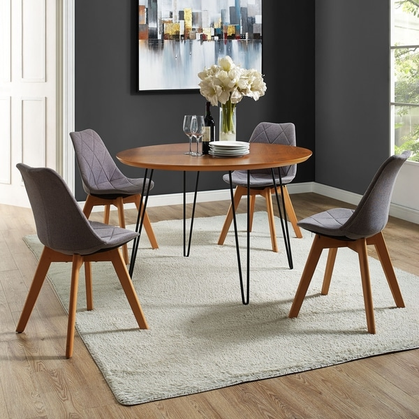 46 Inch Round Hairpin Leg Walnut Dining Table Free