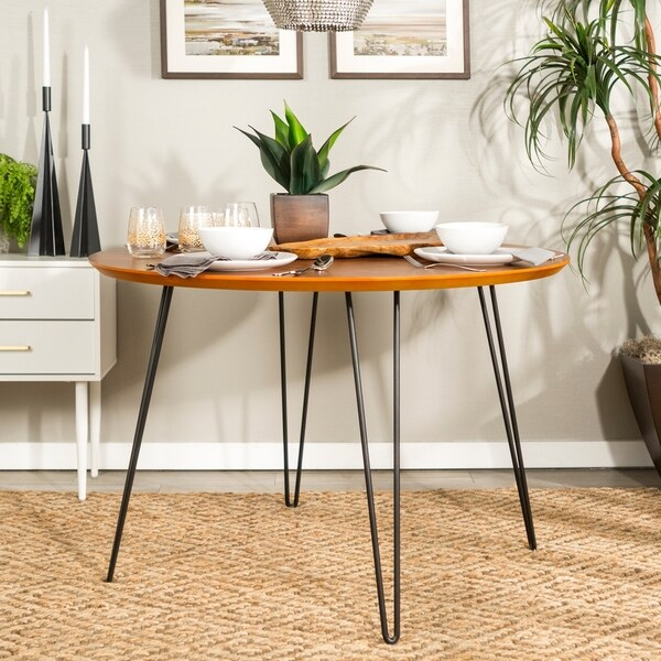 Overstock Dining Room Tables: Shop Carson Carrington Ringe 46-inch Round Hairpin Leg
