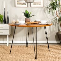 46-inch Round Hairpin Leg Walnut Dining Table