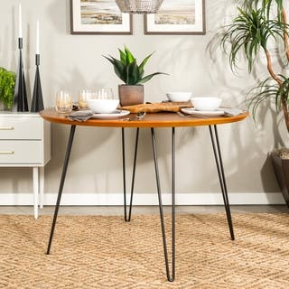 46 inch round hairpin leg walnut dining table - Round Table Dining
