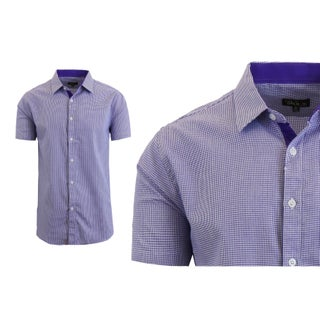 Galaxy By Harvic Men's Short Sleeve Houndstooth Button Down Dress Shirts (More options available)