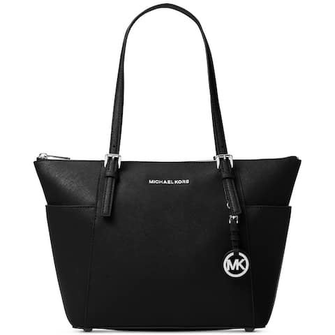 f5d5fd324e6c MICHAEL Michael Kors Jet Set East West Top Zip Large Tote Black/Silver