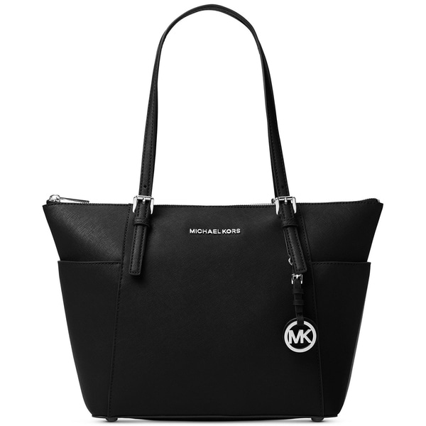 c63bf67958 Shop MICHAEL Michael Kors Jet Set East West Top Zip Large Tote Black/Silver  - Free Shipping Today - Overstock - 19387334