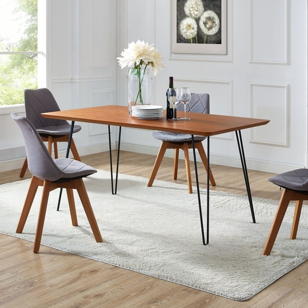 Shop 60-inch Hairpin Leg Walnut Dining Table - On Sale - Free ...