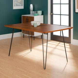 Walnut finish kitchen dining room tables for less overstock 60 inch hairpin leg walnut dining table workwithnaturefo
