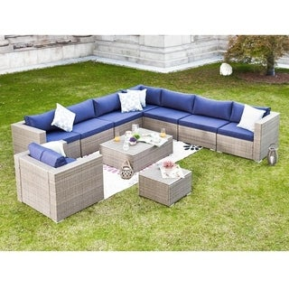 PATIO FESTIVAL ® Las Salinas 10 Piece Patio Modular Sofa Set w/ Cushions