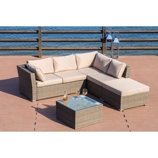 PATIO FESTIVAL ® Flamenco Luxury Wicker Sectional Sofa Set w/ Cushions