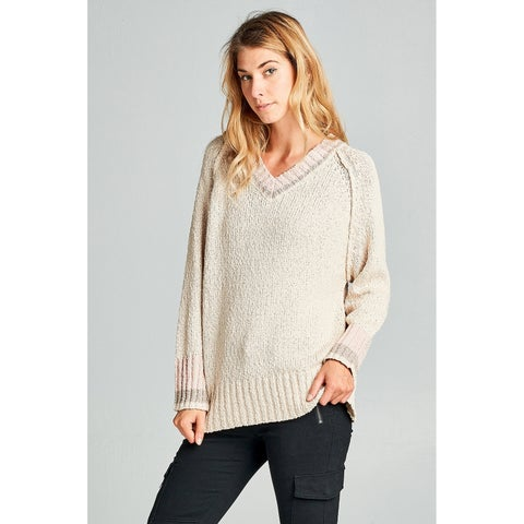 Spicy Mix Kianna Soft Knit Neutral Colorblock Sweater