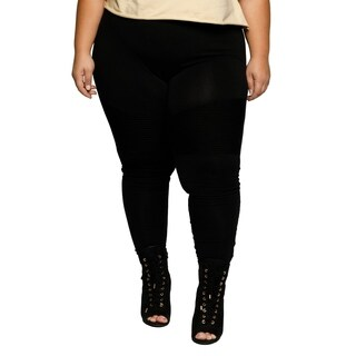 Xehar Womens Plus Size High Waisted Moto Leggings