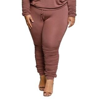 Xehar Womens Plus Size Elastic Comfy Drawstring Jogger Pants