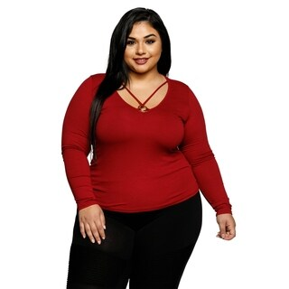 Xehar Womens Plus Size Sexy Ribbed Knit Tunic Blouse Top