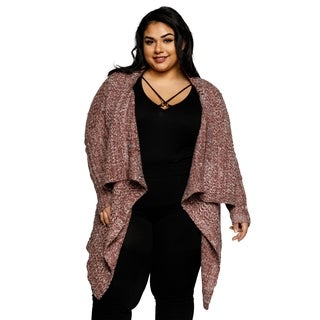 Xehar Womens Plus Size Oversize Collar Knit Open Front Cardigan