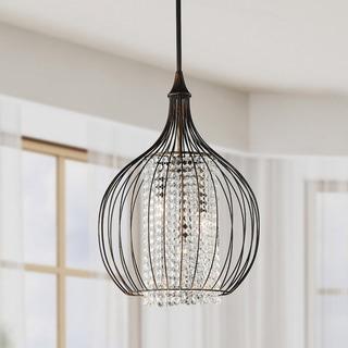 Porch & Den Cherrywood Dancy Indoor 3-light Copper/ Crystal Pendant Chandelier