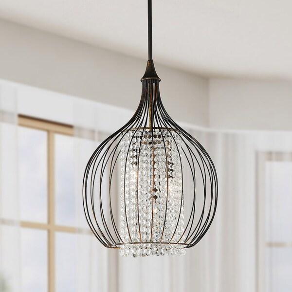 Shop Indoor 3 Light Copper Crystal Pendant Chandelier