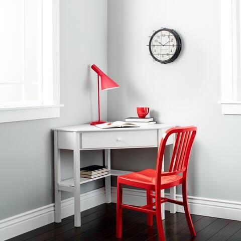 Porch & Den Lincoln White Wood Corner Computer Desk