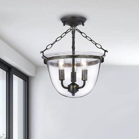 Laurel Creek Adolf Copper Finish Glass Lantern Flushmount Chandelier