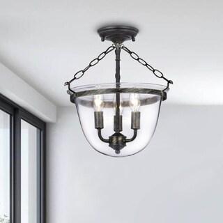 Porch & Den Cherrywood Brookview Copper Finish Glass Lantern Flushmount Chandelier