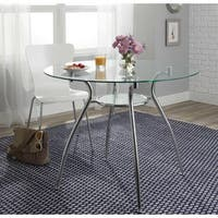 Porch & Den Third Ward St. Paul Tempered Glass Chrome Round Dining Table