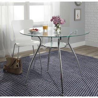 Porch & Den St. Paul Tempered Glass Chrome Round Dining Table