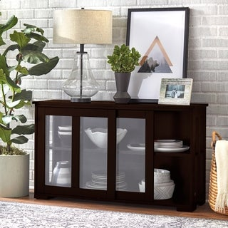 Porch & Den Third Ward Jefferson Glass Sliding Door Stackable Cabinet - N/A