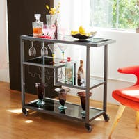 Carbon Loft Glenn Grey Metal Bar Cart with Glass Shelves