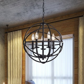 Link to Benita 5-light Antique Black Metal Strap Globe Chandelier - N/A Similar Items in Chandeliers