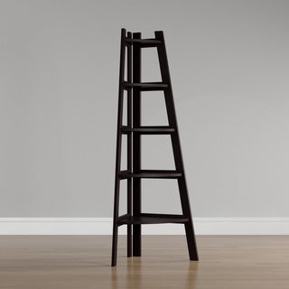 Porch & Den Midland 5-tier Espresso Corner Ladder Display Bookshelf