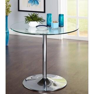 Porch & Den Third Ward Mason Round Dining Table - N/A (Option: 4 - Clear - Chrome, Glass)