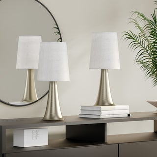Porch & Den Delano St. Clair Mini Touch Table Lamp Set with Fabric Shades (Set of 2)