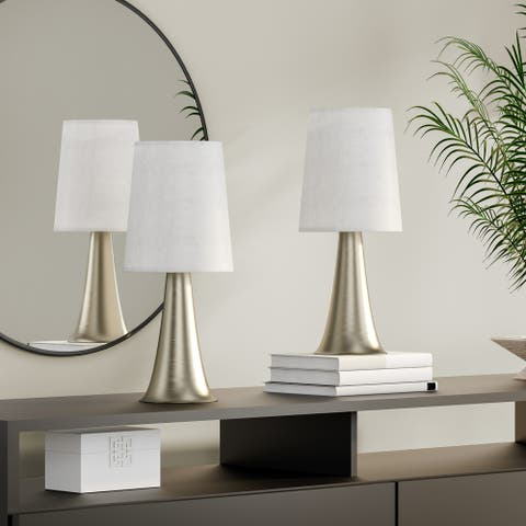 Strick & Bolton Lanteri Mini Touch Table Lamp Set with Fabric Shades (Set of 2)
