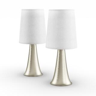 Porch & Den Delano St. Clair Mini Touch Table Lamp Set with Fabric Shades (Set of 2) (3 options available)