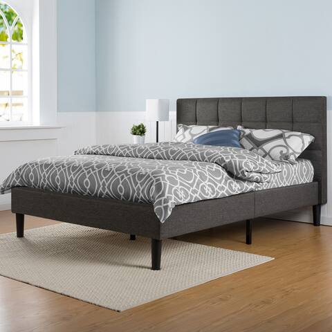 Porch & Den Jeannette Upholstered Square Stitched Queen-size Platform Bed with Wooden Slats