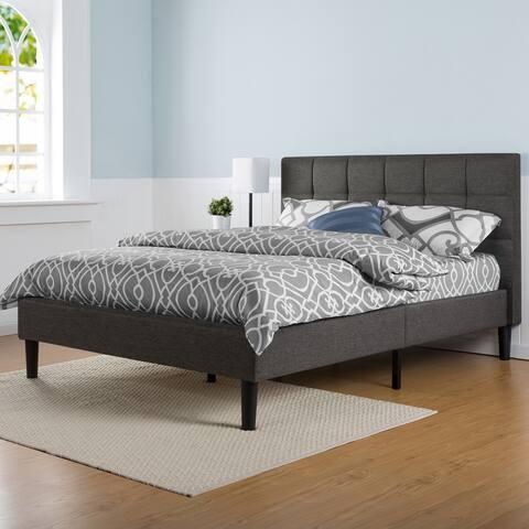 Porch & Den Jeannette Upholstered Square Stitched Full-size Platform Bed with Wooden Slats