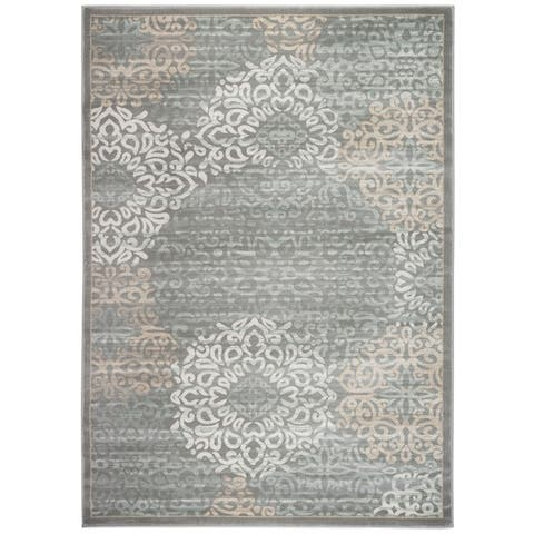 Admire Home Living Plaza Modern Contemporary Abstract Damask Pattern Area Rug