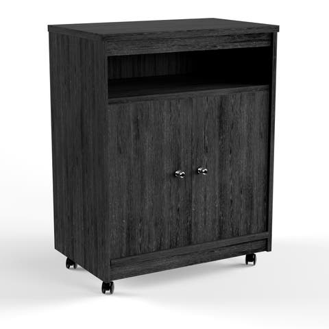 Porch & Den Alley Black Ebony Ash Microwave Cart