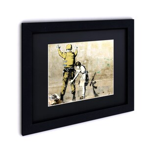 Porch & Den Banksy 'War' Black Framed Black Matte Wall Art