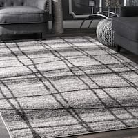 Porch & Den Williamsburg Scholes Abstract Trellis Grey Rug - 7'6 x 9'6