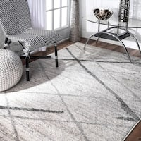 Porch & Den Williamsburg Iris Trellis Stripes Grey Rug (8'6 x 11'6)