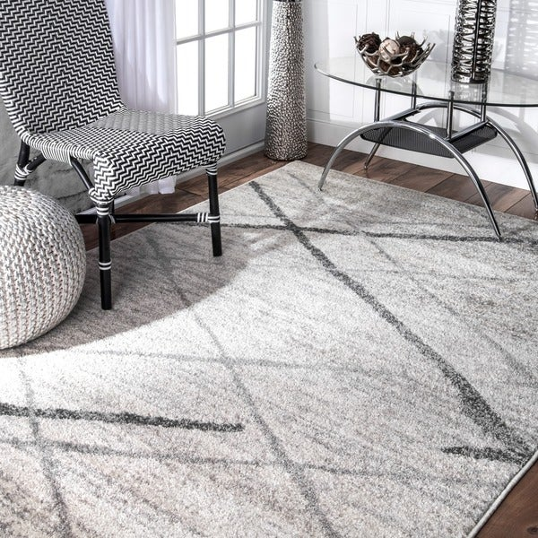Porch & Den Williamsburg Iris Trellis Stripes Grey Rug (5' x 8') - 5' x 8'