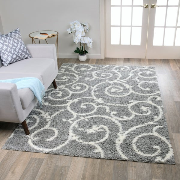 Porch & Den Marigny Decatur Light Grey White Indoor Shag Area Rug - 3'3 X 5'