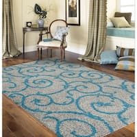 Porch & Den Marigny Decatur Turquoise Grey Indoor Shag Area Rug (7'10 x 10')