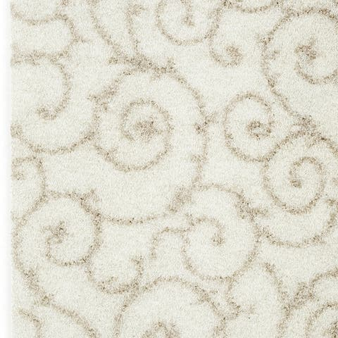 Porch & Den Decatur Light Grey White Indoor Shag Area Rug