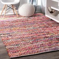 Porch & Den Williamsburg McGuinness Chevron Stripes Magenta Rug - 5' x 8'