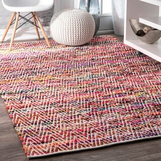 Porch & Den McGuinness Chevron Stripes Magenta Rug - 5'3 x 7'6