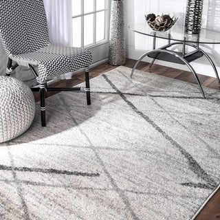 Porch & Den Williamsburg Hope Soft and Plush Modern Diamond Trellis Moroccan Lattice Shag White Rug - 2' x 3'