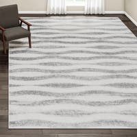Porch & Den Williamsburg Hooper Geometric Waves Grey Rug - 10' x 14'
